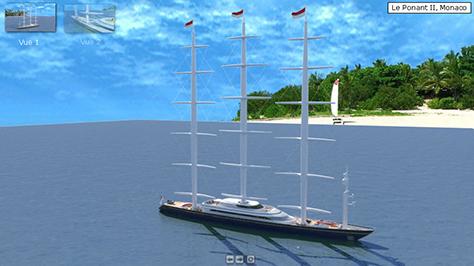 3D Pré-calculée Bateau 3D Ponant 2 Monaco